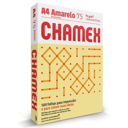 Papel sulfite A4 amarelo 210x297 com 500 folhas Colors - Chamex