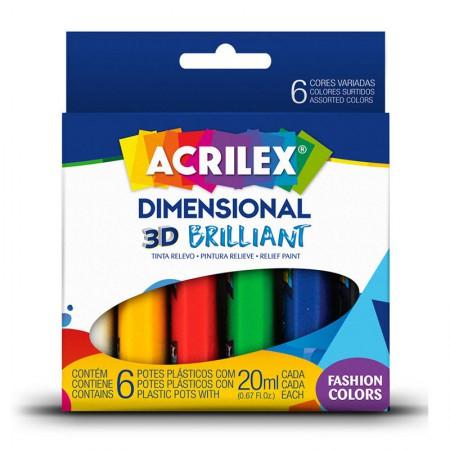 Tinta dimensional relevo 3D brilhante 6 cores 20ml - Acrilex