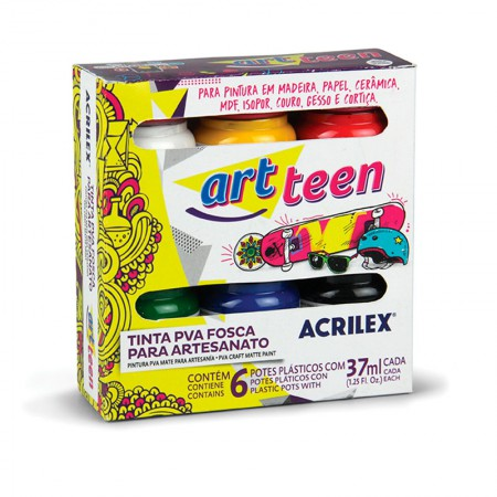Tinta para artesanato fosca 6 cores 37ml - 03200 - Acrilex
