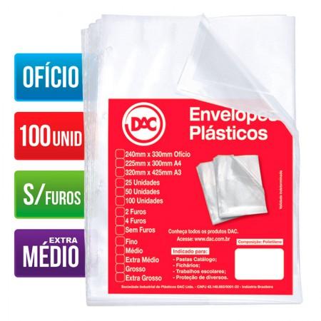 Envelope plástico ofício 0.12 - sem furos - 5177 - pacote com 100 unidades - Dac