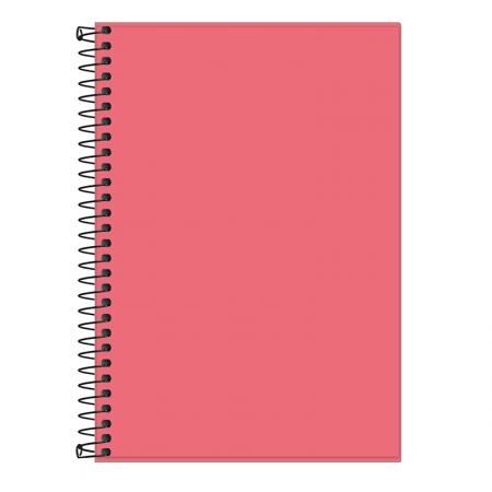 Caderno espiral capa plástica sem pauta 1/4 - 80 folhas - Neon Coral - Tilibra