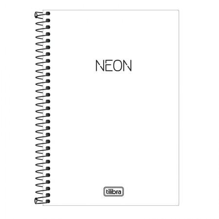 Caderno capa plástica 1/4 Neon Branco C/P 80 Fls - Tilibra