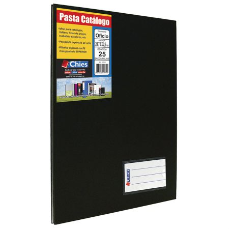 Pasta catálogo ofício 4005 - preta - com 25 plásticos - Chies