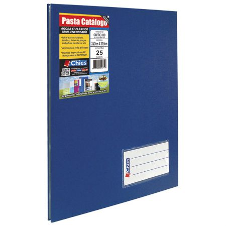 Pasta catálogo ofício 4006 azul royal 25 plásticos Chies