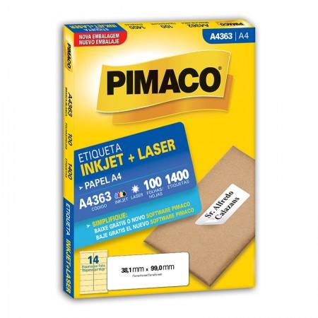 Etiqueta inkjet/laser A4363 - com 100 folhas - Pimaco
