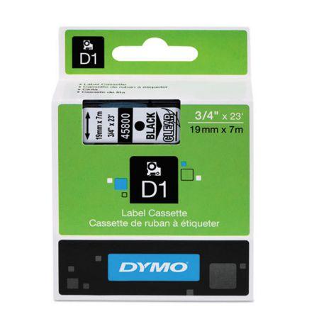 Fita para rotulador 19mm - 45800 - transparente escrita em preto - Dymo