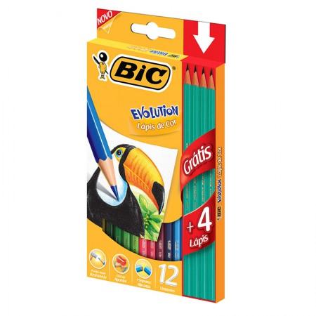Lápis de cor 12 cores Evolution Sextavado + 4 Lápis Preto - Bic