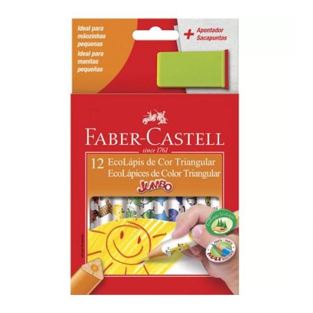 Lápis de cor 12 cores - jumbo triangular - 123012AP - Faber-Castell