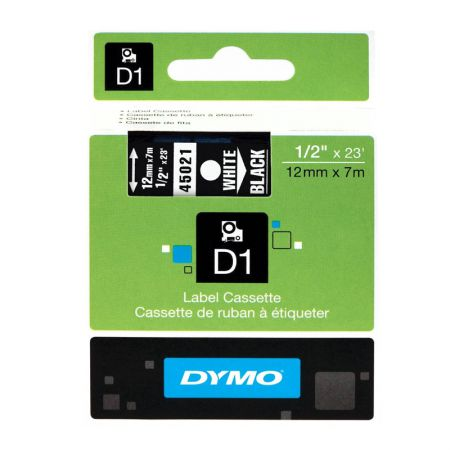 Fita para rotulador preta com escrita branca 12mm - 45021 - Dymo