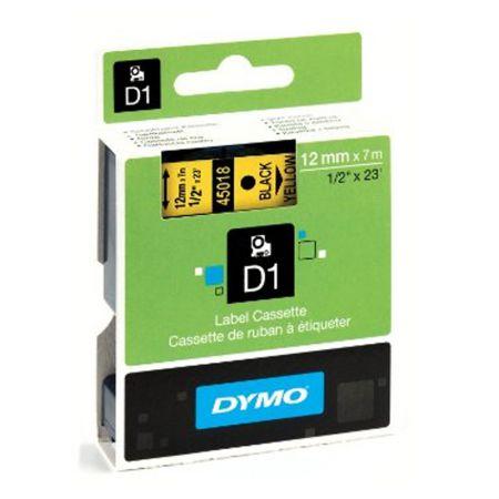 Fita para rotulador amarela com escrita preta 12mm - 45018 - Dymo