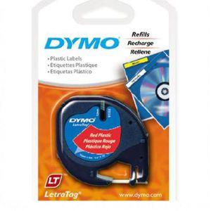 Fita para rotulador letratag vermelha com escrita preta 12mm - 91333 - Dymo