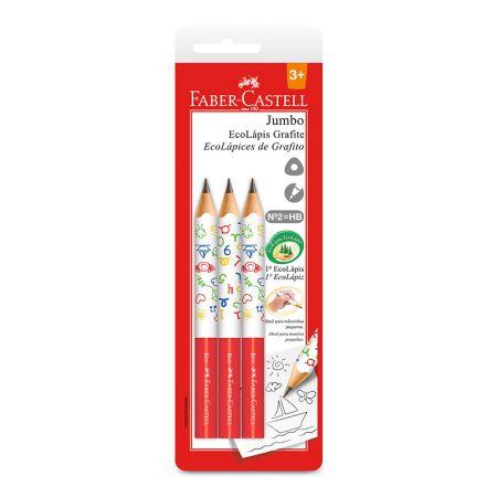 Lápis preto jumbo nr 2B - SM/1205J - com 3 unidades - Faber-Castell