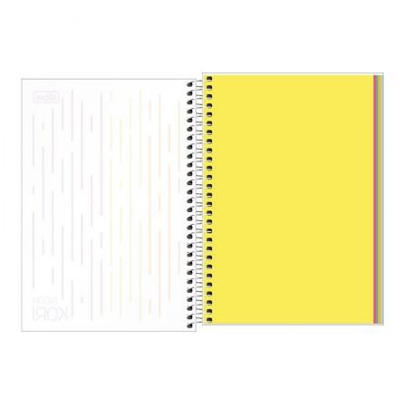 Caderneta capa plástica 1/8 Neon Kori - Sem Pauta - 80 folhas - Tilibra