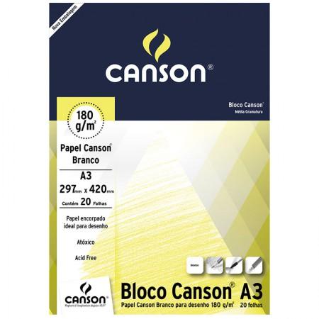 Bloco desenho branco A3 180g - com 20 folhas - Canson