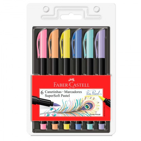 Caneta hidrográfica supersoft brush pastel - 15.0706TPSOFT - com 6 cores - Faber-Castell