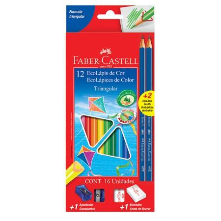 Lápis de cor 12 cores - triangular - 120512+2N - Faber-Castell