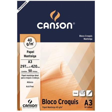 Bloco croquis manteiga A3 40g - com 50 folhas - Canson