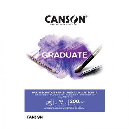 Bloco graduate multi técnica branco A4 200g - com 20 folhas - Canson