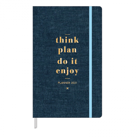 Agenda planner costurada semanal Cambridge Denim 2020 - Tilibra