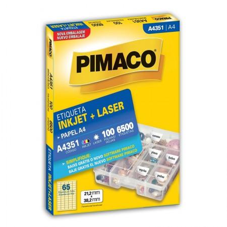 Etiqueta inkjet/laser A4351 - com 100 folhas - Pimaco