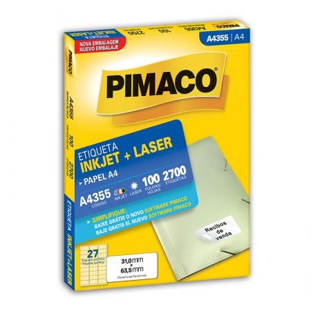 Etiqueta inkjet/laser A4355 - com 100 folhas - Pimaco