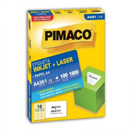 Etiqueta inkjet/laser A4361 - com 100 folhas - Pimaco