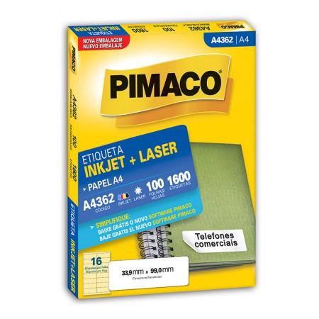 Etiqueta inkjet/laser A4362 - com 100 folhas - Pimaco