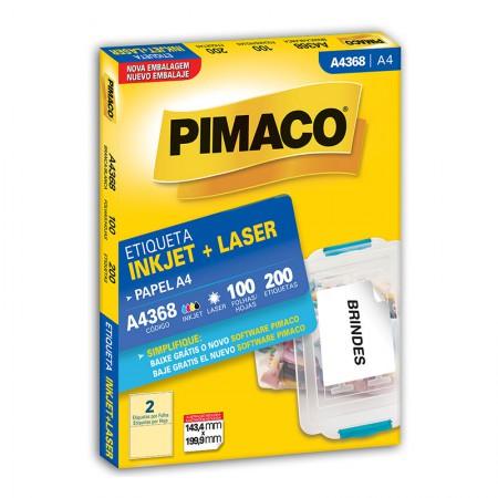 Etiqueta inkjet/laser A4368 - com 100 folhas - Pimaco
