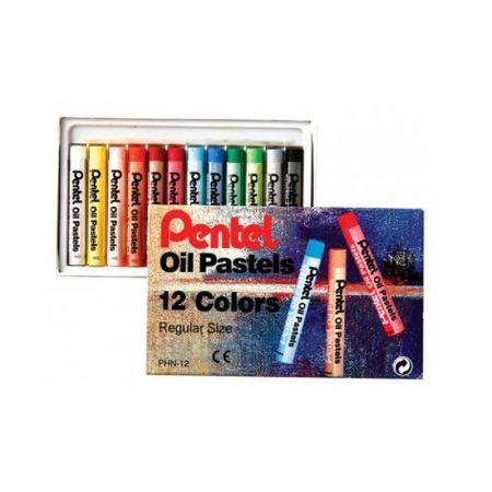 Giz pastel oleoso PHN-12 - com 12 cores - Pentel