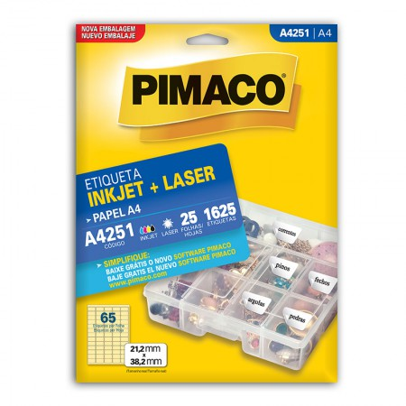 Etiqueta inkjet/laser A4251 - com 25 folhas - Pimaco
