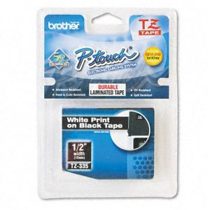 Fita para rotulador 12mm laminada - TZ335 - preta escrita em branco - Brother