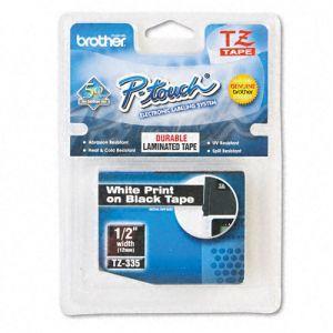 Fita para rotulador 12mm laminada - TZe335 - preta escrita em branco - Brother