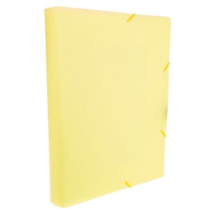 Pasta aba elástico ofício lombo 40mm - Linho Serena - Amarelo pastel - 249.AP - Dello