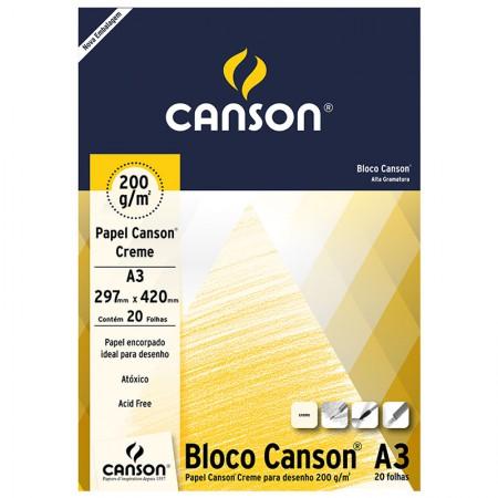 Bloco desenho creme A3 200g - com 20 folhas - Canson