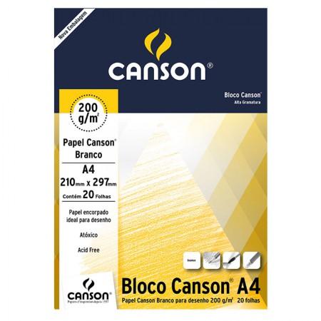 Bloco desenho branco A4 200g - com 20 folhas - Canson