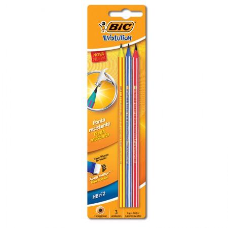 Lápis preto Evolution Pijama - com 3 unidades - 891672 -  Bic