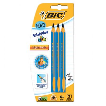 Lápis preto Evolution gigante kids - blister com 3 unidades - Bic