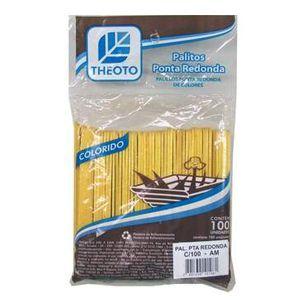 Palito de sorvete amarelo - com 100 unidades - Theoto