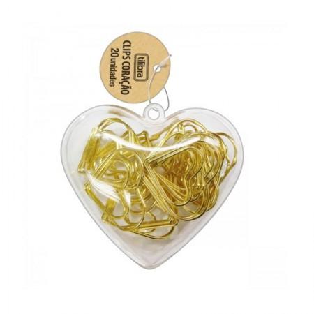 Clips Dourado formato coração - com 20 unidades - 276618 - Tilibra