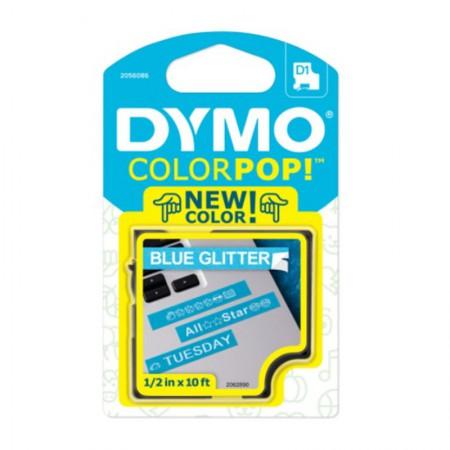 Fita para rotulador Color Pop azul glitter com escrita branca 12mm - Dymo