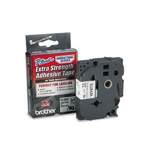 Fita para rotulador 18mm laminada industrial - TZS241 - branco escrita em preto - Brother