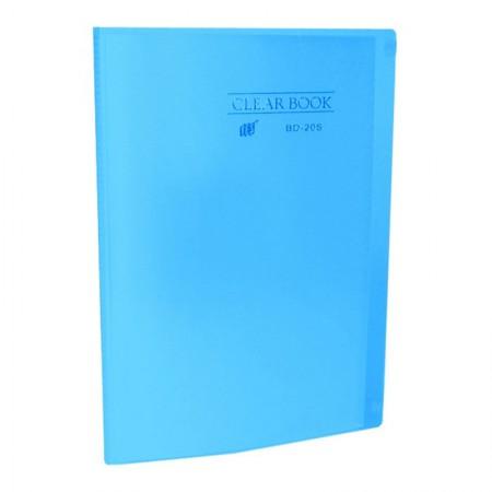 Pasta catálogo transparente - azul - BD20S - com 20 plásticos - Yes