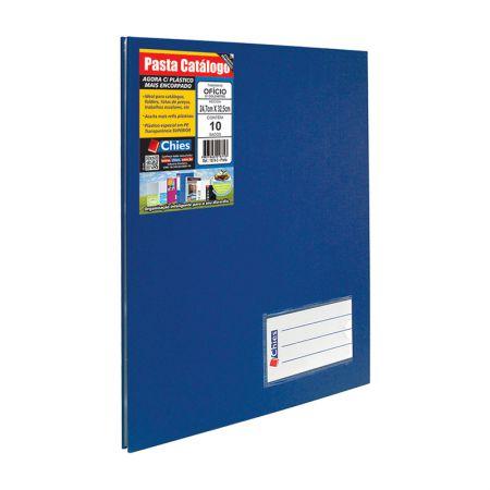 Pasta catálogo ofício 2534 - azul - com 10 plásticos - Chies
