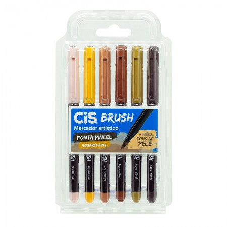 Caneta pincel Brush Aquarelável - com 6 cores tons de pele - Cis