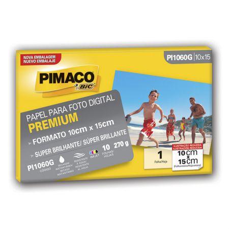 Papel super glossy premium 10X15 - PI1060G - com 10 folhas - Pimaco