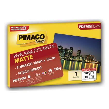 Papel matte fosco 10X15 - PI2570M - com 25 folhas - Pimaco