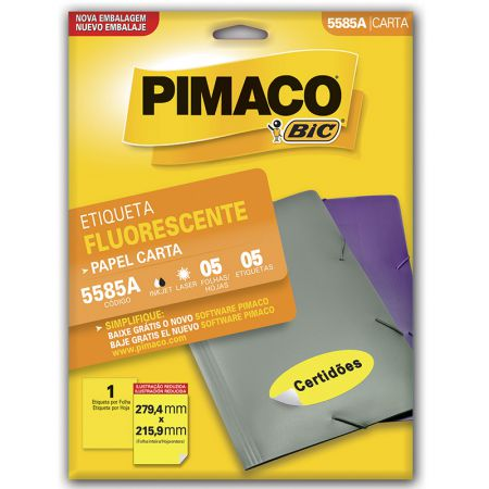 Etiqueta fluorescente 5585A - amarelo - com 5 fls - Pimaco