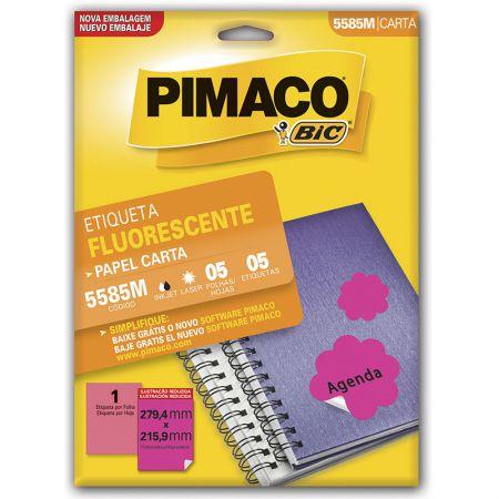 Etiqueta fluorescente 5585M - magenta - com 5 fls - Pimaco