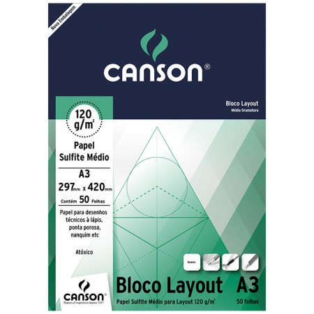 Bloco layout liso A3 120g - com 50 folhas - Canson