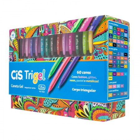 Caneta gel 1.00 mm Trigel - 576400 - com 60 cores - Cis